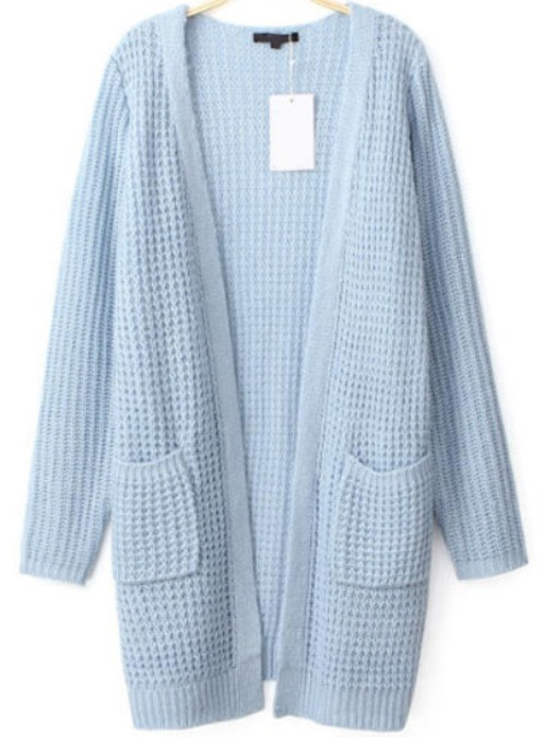 Light Blue Waffle Knit Long Line Loose Cardigan