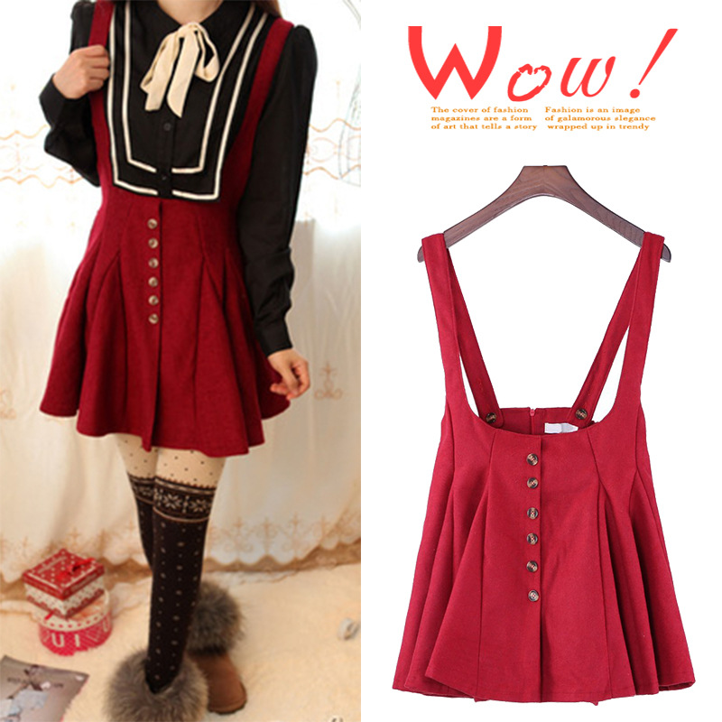 2013 New Autumn woolen high waist braces Denim Skirt Bib Brace Lady Girl A Line Skater Flare Dress Short Mini free shipping k69-in Skirts from Apparel & Accessories on Aliexpress.com