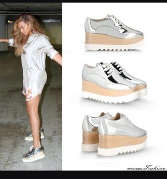 shoes beyonce silver metallic shoes platform shoes