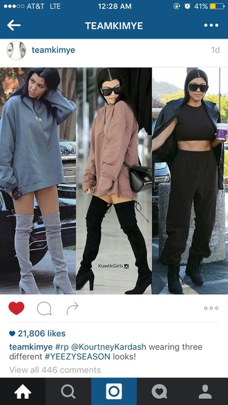 shoes kourtney kardashian knee high boots thigh high boots cute stylish boots black heels black boots suede boots grey boots chunky heels fashion fashionista kardashians