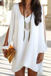 v neck,loose-fitting,chiffon dress