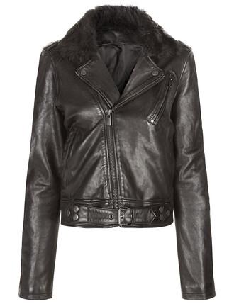 jacket fur leather black black leather