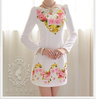 dress floral dress flower dress white dress