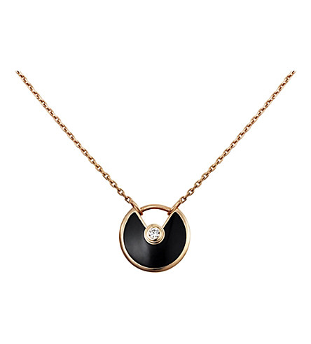 Amulette de Cartier 18ct pink-gold, onyx and diamond necklace