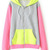 ROMWE Color Block Zippered Pink Coat