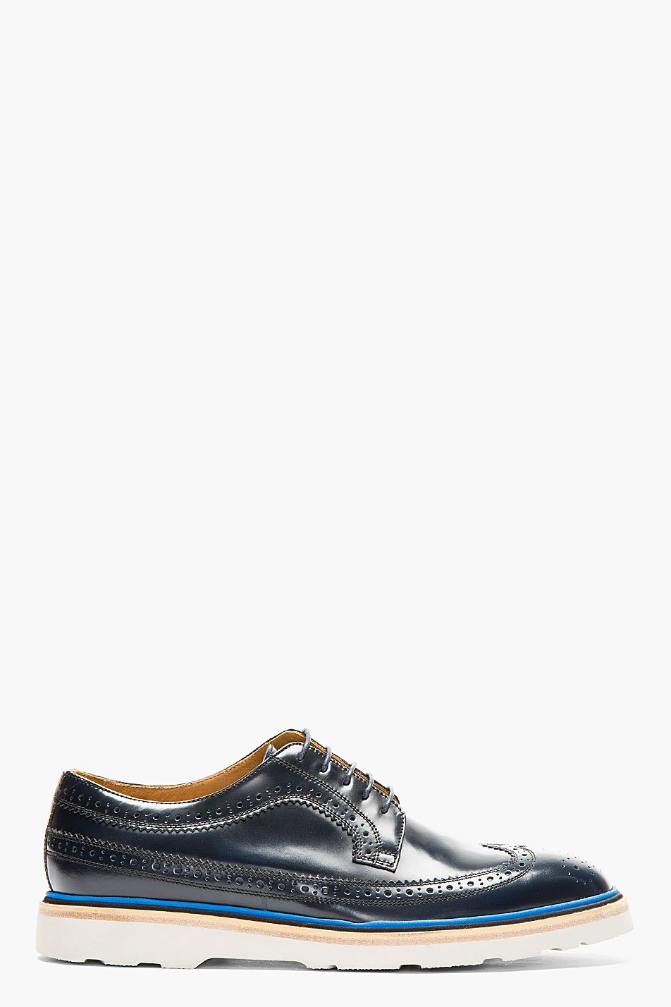 Paul smith black and blue stacked grand brogues