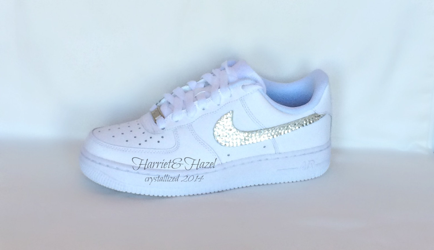 Nike Air Force 1's in white with Swarovski crystal detail