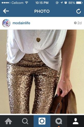 pants gold pants gold sequins
