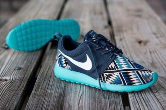 shoes nike running sneakers blue aztec fitness print nike roshe run nike running shoes tribal pattern