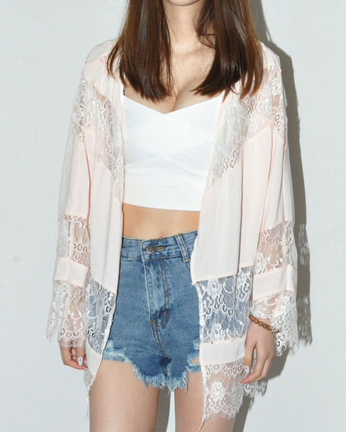 Jacket: kimono, lace, peach, cardigan - Wheretoget