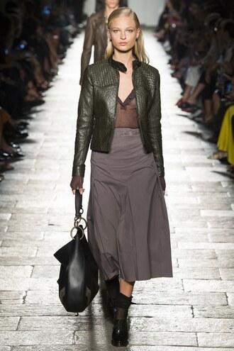 jacket bottega veneta spring outfits midi skirt top plunge v neck purse milan fashion week 2016