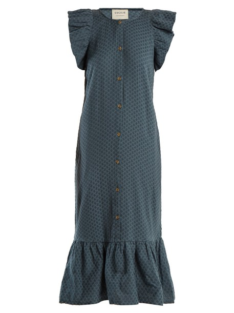 CECILIE COPENHAGEN dress jacquard cotton blue