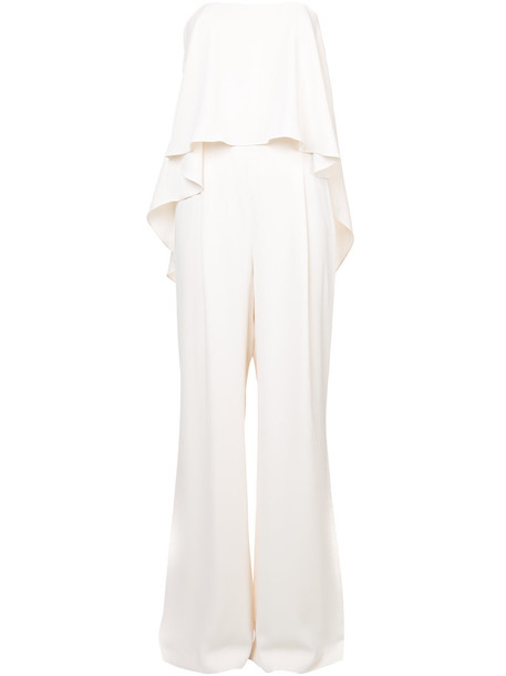 Halston Heritage jumpsuit strapless women spandex white