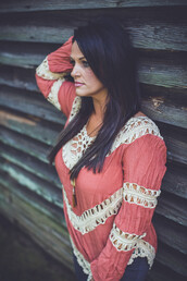 top,longsleeve top,coral,rust,crochet top,boho,boho chic,indie,casual,style,fall outfits,longsleeve shirt