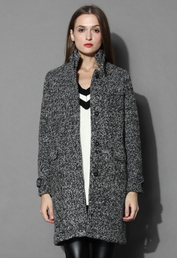 Coat: chicwish, stand collar coat, dark grey tweed coat, grey coat ...