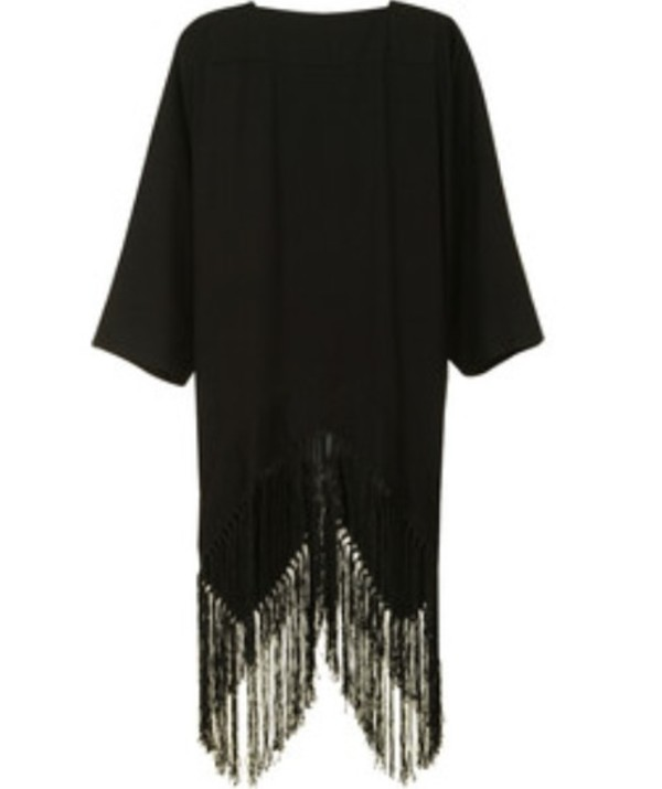 jacket black kimono tassel cool girl style