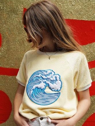 shirt yellow yellow shirt yellow t-shirt waves wave shirt with waves shirt with wave t-shirt