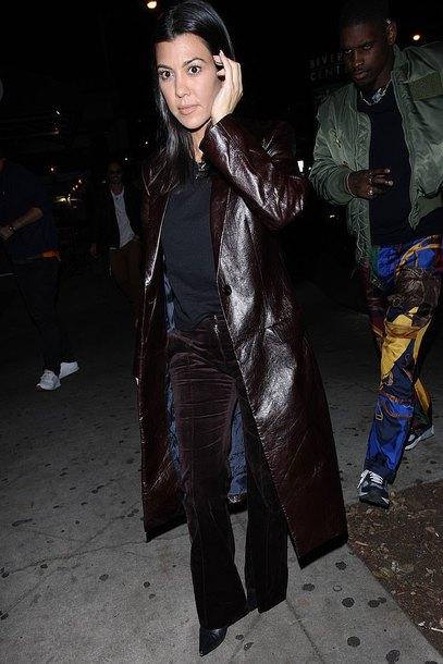 pants kourtney kardashian velvet velvet pants kardashians brown coat fall outfits