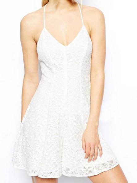 White halter top v neck crossed spaghetti straps lace dress
