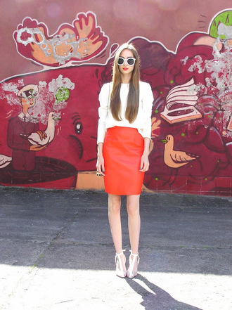 fashionectic blogger top skirt shoes bag sunglasses