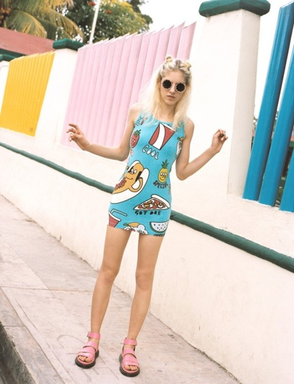 Dress short print blue sunglasses tight food hipster indi grunge girly skater dress Urban outfitters bedroom lookbook