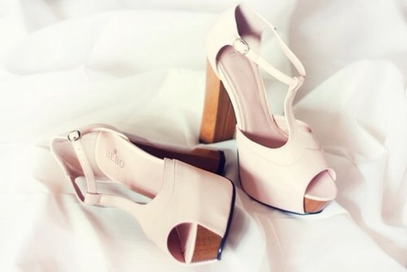 high heels shoes beige shoes rose shoes white rose gold style cute high heels platform cutout peeptoes