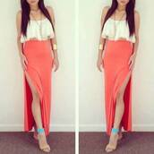 skirt,cute,orange,maxi skirt,high heels,tank top,long hair,necklace,top