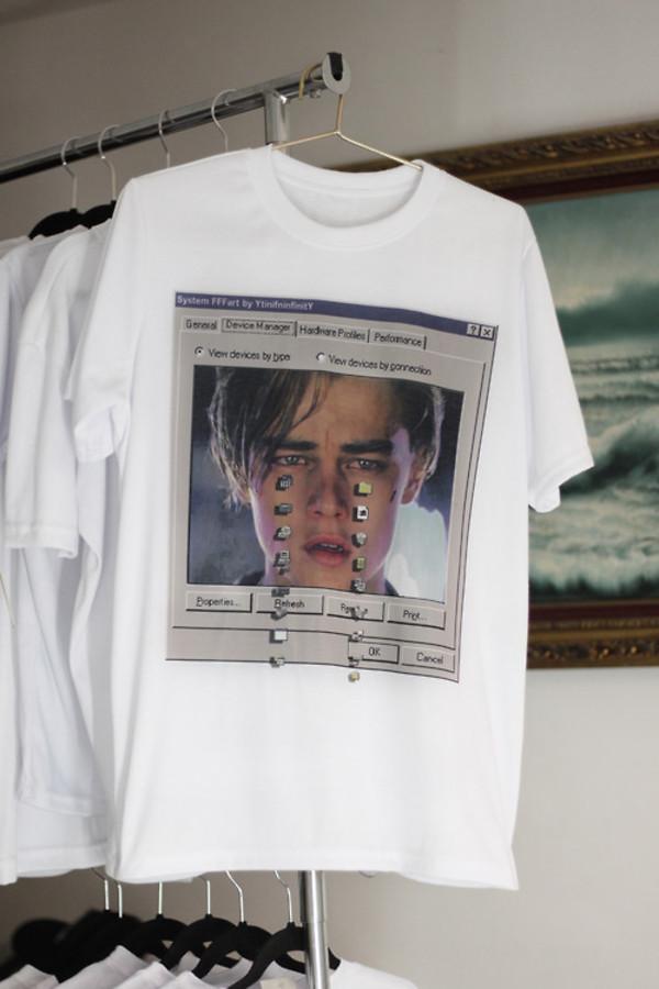 t-shirt leonardo dicaprio streetwear white t-shirt white top short sleeve