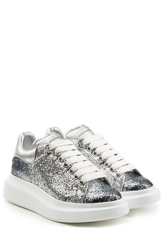 glitter sneakers leather silver shoes