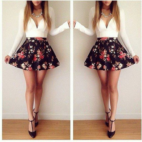white floral skirt top low cut top flowy skirt