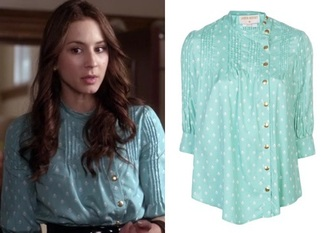 blouse cute teal aqua shirt style spencer hastings pll spencer pretty little liars celebrity style tv/movies girl girly preppy pretty polka dots