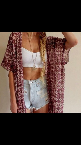 top white crop top crop tops cardigan high waisted short