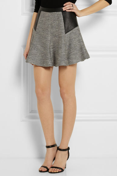 skirt mini skirt grey karl lagerfeld fily faux leather-paneled tweed mini skirt tweed skirt