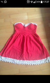 dress,red,lace,strapless dress,skater,bandeau,bustier