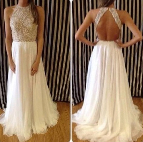 Open Back Evening Gowns with Beads and Crystals