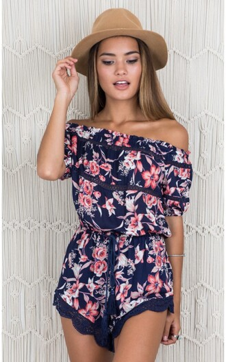 romper mynystyle floral off the shoulder cute boho hat chic fashion casual summer summer dress