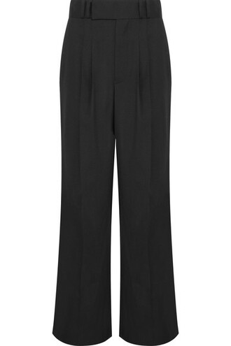 pants wide-leg pants black wool
