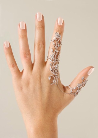 jewels ring hand jewelry jewelry bling linked ring full finger rings finger rings knuckle ring silver ring