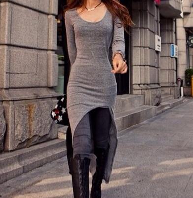 Asymmetrical hem long sleeve dress