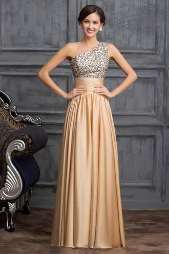dress gold prom dress gold dress one shoulder gown