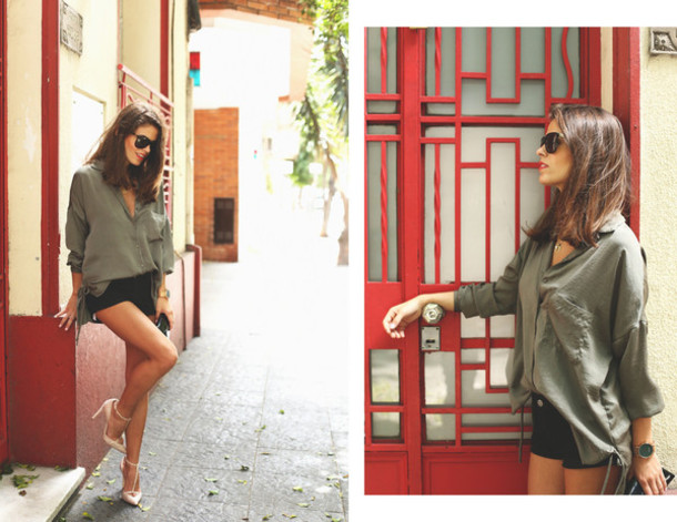 seams for a desire blogger sunglasses oversized shirt black shorts olive green pointed toe shirt shorts shoes jewels