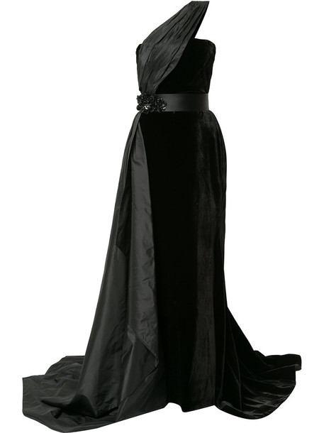 Romona Keveza gown women black silk dress