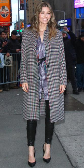 coat pants streetstyle fashion week ny fashion week 2018 jessica biel celebrity pumps shirt tunic cardigan sweater