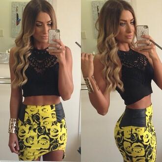 blouse crochet black high neck floral floral skirt crop tops bohemian boho hippie