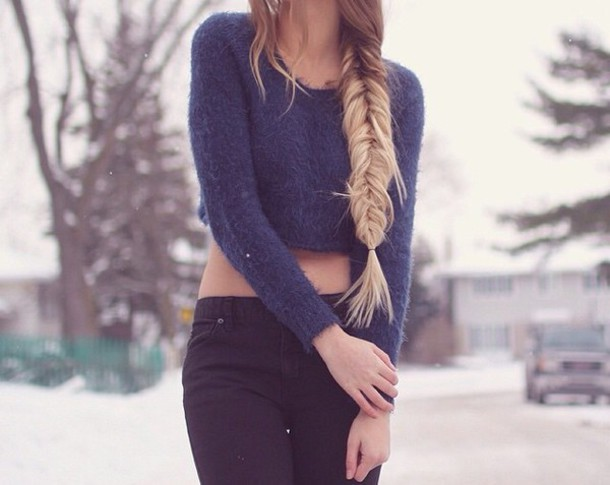 sweater crop tops cropped sweater top winter sweater dark blue winter outfits winter outerwear winter out jeans black jeans bottom denim