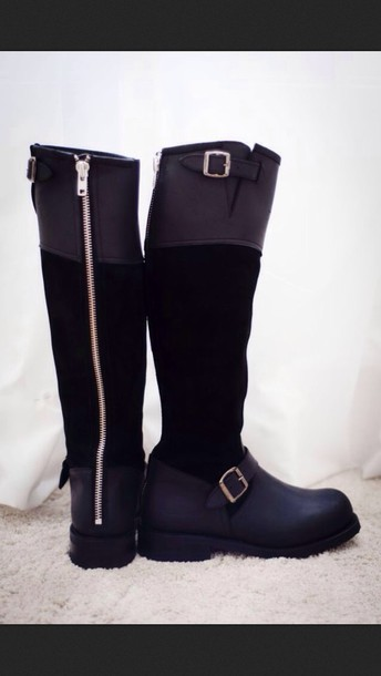 shoes knee high boots zip black black boots winter boots