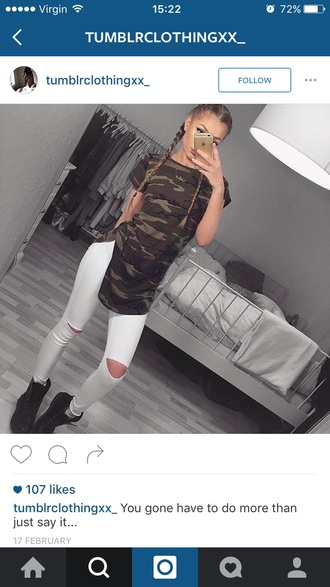 shirt camouflage long slit tumblr outfit jeans