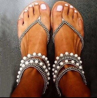 shoes sandals grey white pearl flat sandals