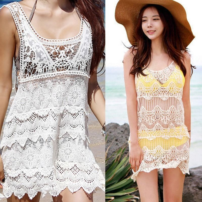 Girls Crochet Sleeveless Lace Swimwear Sunscreen Bikini Cover Up Beach Dress Top | eBay