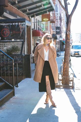 devon rachel blogger blouse skirt coat scarf sunglasses shoes